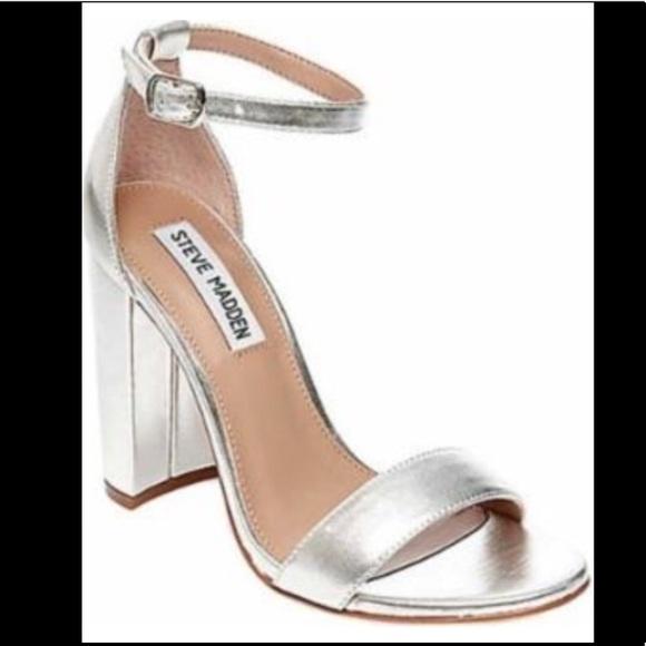 ac88949b3f1 Steven Madden Silver Block Heels